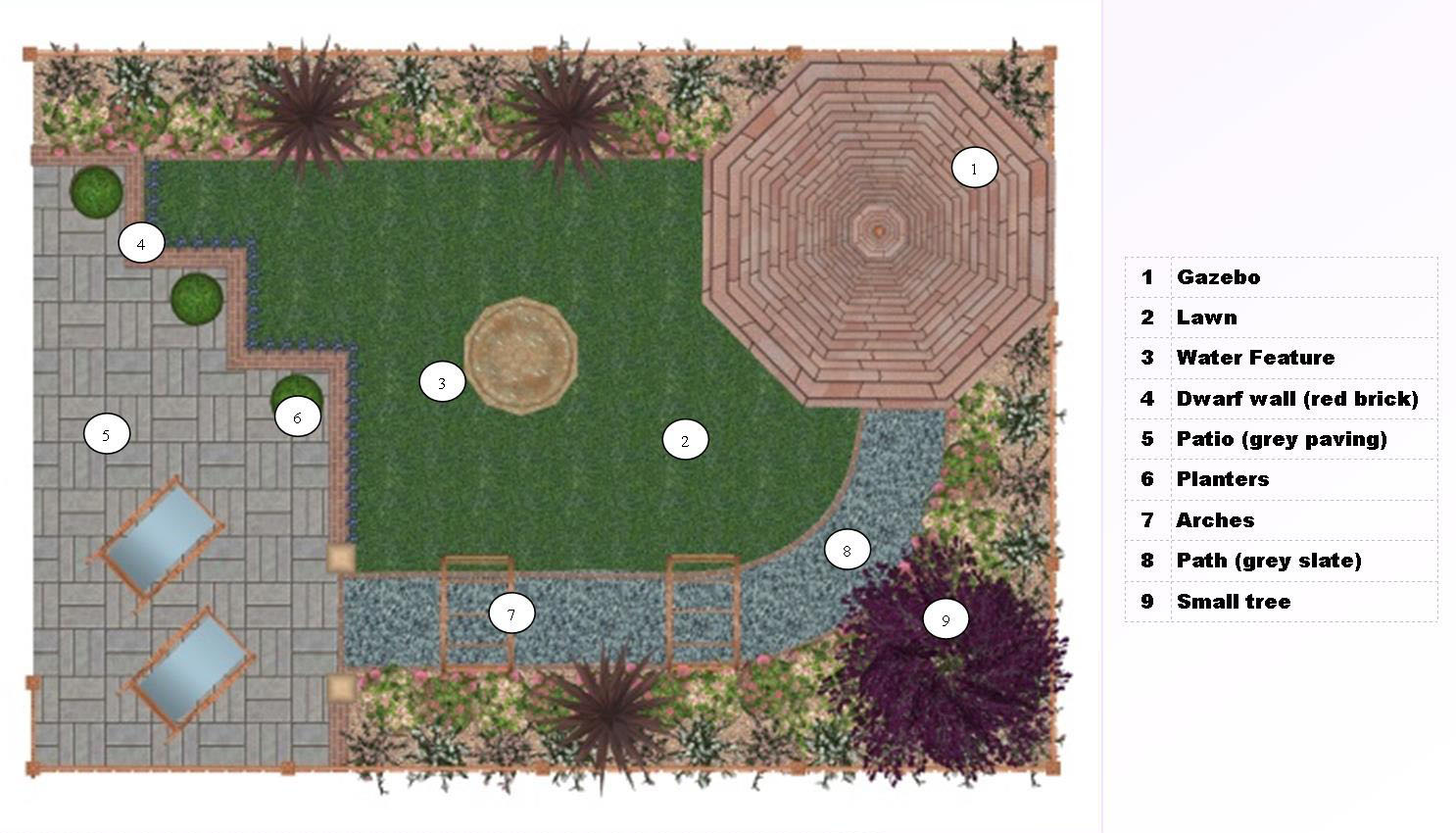 A layout plan for a small garden with water feature