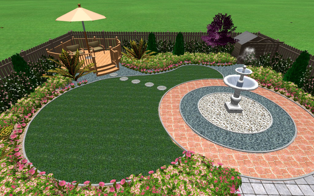 A large, entertaining garden with water feature